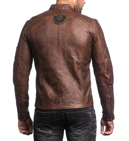 Куртка кожаная Affliction FATAL HOUR 110OW230 коричного цвета спина