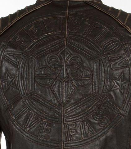 Affliction | Куртка мужская кожаная Day Watch Jacket 110OW135 аппликация на спине из кожи