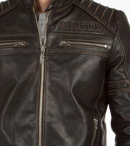 Affliction | Куртка мужская кожаная Day Watch Jacket 110OW135 передний карман