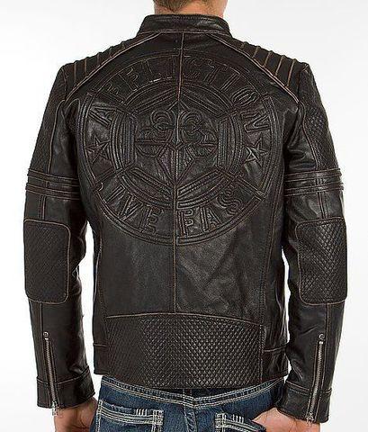 Affliction | Куртка мужская кожаная Day Watch Jacket 110OW135 спина